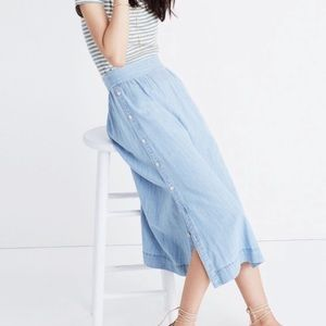 MADEWELL Side Button Chambray Midi Skirt Size 10